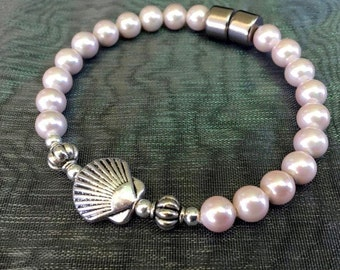 Soft Pink Pearl Magnetic Bead Bracelet with Silver Shell ~