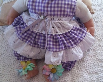 Gingham baby dress and pants size 0 with matching head band