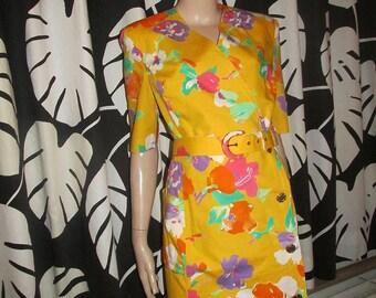 Vintage Givenchy cotton dress.Givenchy vintage made in France.Floral cotton summer dress.