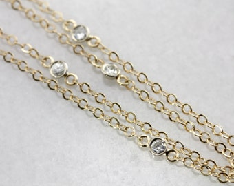 Vintage Diamond Station Necklace, Gold Layering Necklace H7X6YP-P