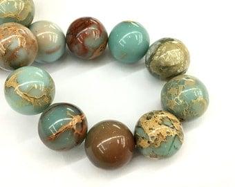 18mm Natural Impression Jasper Beads, Red Yellow Green Jasper Beads, Gemstone Beads, Round Loose Stone Beads For Jewelry Making 5 pcs