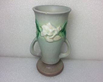 "Vintage Roseville USA Pottery Double Handle Vase - Gardenia Floral - 682-6"""