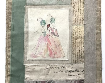 Mixed Media Collage Embroidery Artwork  - Textile Art -  2 Courtesans Watercolour Painting Fabric Collage Fiber Art Textiles - Two girls