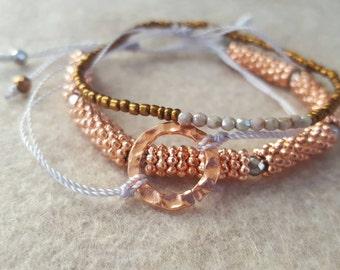 Rosegold stackable bracelet set.