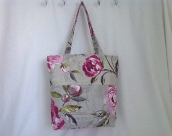 Grey and Pink Floral Fabric Tote Bag, Beach Bag, Shopper, Hand Bag