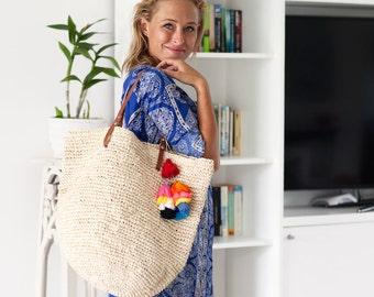 Large Beach Bag, Straw Tote, Market Bag, Beach Bag Tassel,Raffia Beach Bag