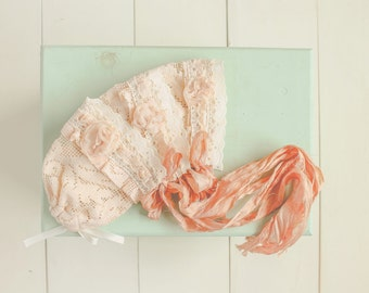 Newborn Bonnet Photo Prop Vintage Lace Bonnet Baby Girl Bonnet Peach Lace Bonnet Photography Props Infant Hats Baby Bonnets