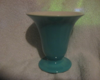 "FRANCISCAN CIELITO Art Ware VASE 4 3/4"" Turquoise with foil label attached Circa 1934"