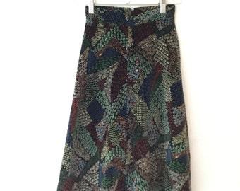 Vintage A line Velvet Far East Patterned 70s Midi Skirt