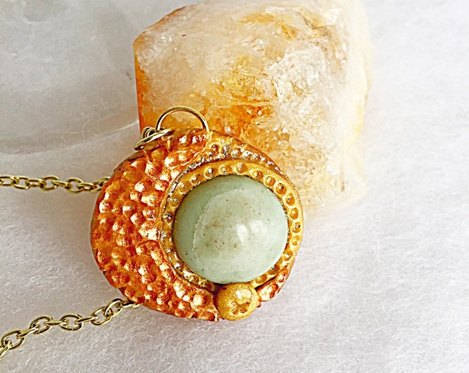 Blue Moon Serpentine Jasper Bronze and Gold Pendant Necklace on Gold Chain, Full Moon Gemstone Crystal Dainty Boho Jewlery, Jade