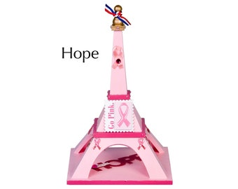 """Eiffel Tower - """"Hope"""" - Pink painted balsa wood with decorations"""