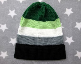 Knit Pride Hat - Aromantic Pride - Slouchy Beanie