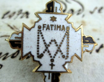 Set of two Antique Enamel Brooch of Our Lady of Fatima - Catholic  Religious