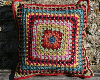 Ara  : Granny square new pillow, cotton fabric fabric with parrots and bamboo, new cushion inside