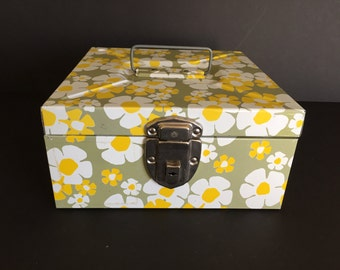 Vintage Metal Storage Box, Storage Box with Lid, Coupon File, Calendar Box, Craft Storage Bin, Excelsor Flower Box, Floral Craft Box