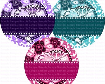 Editable Nurse Damask Flower Butterfly Bottle Cap Images 4x6 Bottlecap Collage Scrapbooking Jewelry Hairbow Center