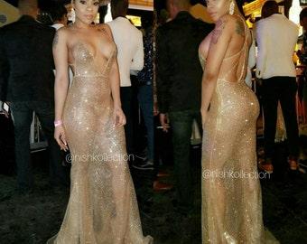 Custom spaghetti mermaid gold SHIMMER GEM lace dress wedding reception prom