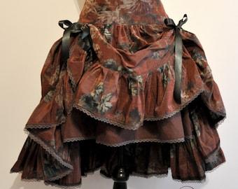 midi skirt steampunk mori taffetas flowers green brown