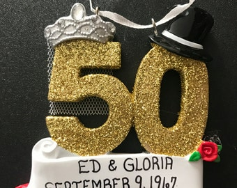 50th Wedding Anniversary Personalized Christmas Ornaments