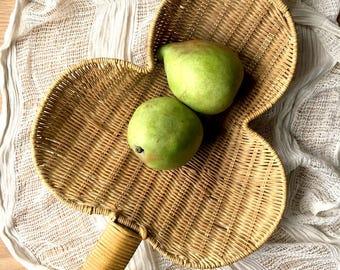 Wicker Scoop Basket / Fruit Basket / Rattan Footed Basket / Three Leaf Clover Basket