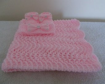 Hand knitted pink sparkle blanket,booties and headband set