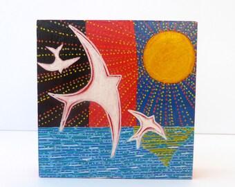 Flying Bird Painting, Original Painting, Bird Art, Bird Illustration, Swallow Painting, Original Artwork, Wood Painting, Birds in Flight Art