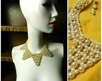 50's 60's glass faux pearl adjustable choker collar necklace flapper 16''