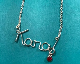 Necklace for girls, wire name necklace with BIRTHSTONE, cursive name necklace, silver necklace