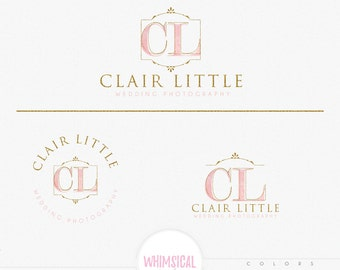 FANCY initials design- Feminine Watercolor Design Branding Package Inc. Photography - GOLD GLITTER initials letters script Watercolor Logo