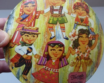 Vintage 1960s THORNE'S Toffee Tin: Children of the World Design