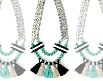 Tribal fringe necklace, silver statement necklace, african tassel necklace, black turquoise fringe necklace, tassels statement necklace.