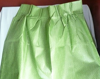 Vintage Bright Green Textured Thermal Lined Pinch Pleat Draperies, 84 x 45, green curtains, green drapes, pinch pleat, draw draperies
