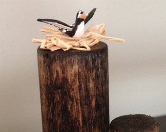 Original hand painted miniature of a nesting sea bird on wood pilings. Dollhouse, diorama, display, village. Great for nautical decor.