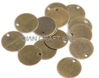 set of 200PCS 10mm antique bronze round disc tag coin drops blank charms connector lead and nickle free