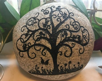 Engraved Stone. Peace Tree.