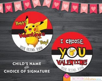 Pokemon Valentine Cards - PRINTABLE - Personalized - Pikachu - Pokeball - Use as stickers, tags or round cards