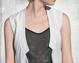 WILD WOOD - sleeveless vest, chic blazer, jacket, cover-up for womens - cream white