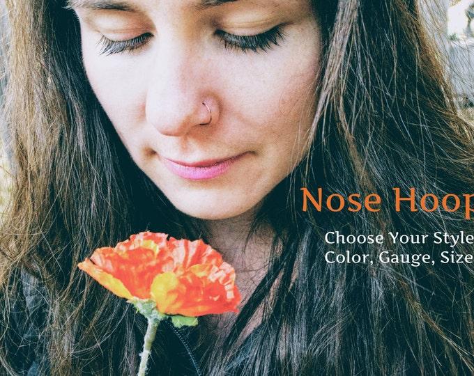 Nose Ring - Brass Hoop, Silver Hoop, Gold Hoop, Copper Hoop - 20G Nose Ring - 22G Nose Ring- 24G Nose Ring - Tiny - Small - Loose