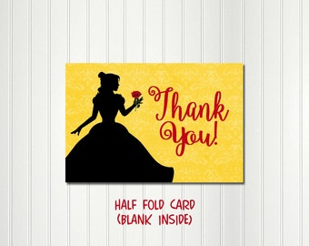Belle Party Thank You, Belle Note Card, Belle Party Thank You Card,  Beauty and the Beast Party, Thank You Card, Thank You, Note