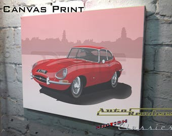 Jaguar E Type FHC Series 1 & 2 CANVAS PRINT 12x8(A4) to 36x24(A1) Classic Cars Custom Personalised Premium Illustration Lightweight Racecar