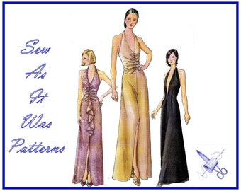 """2000s Vogue 7428 Halterneck Low Front Slit Flounce Drape Ruched Gathered Fitted Evening Dress Sewing Pattern Sizes 14 16 Bust 36 38"""" 92 97cm"""