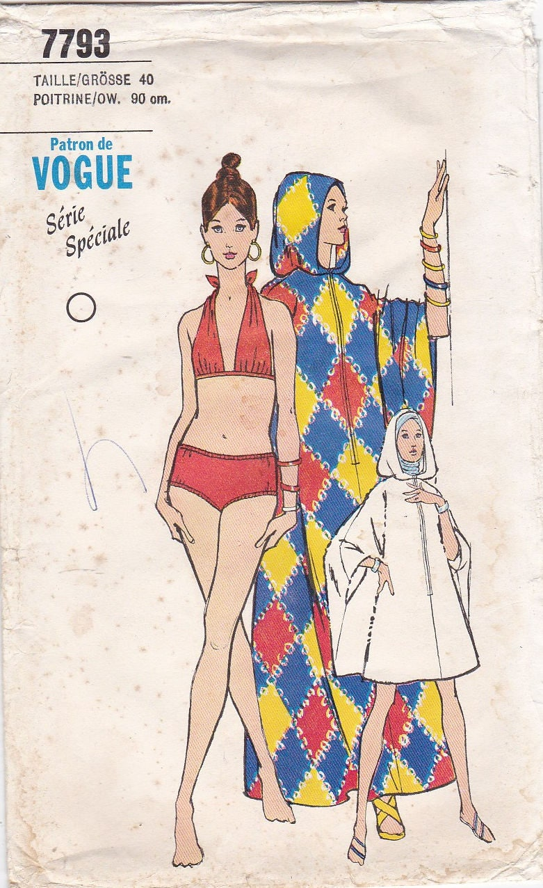 1970s French Vogue 7793 Caftan Cover Up All Hoodie Poncho