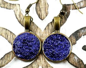 Blue glitter earrings, druzy gemstone effect, sparkle jewelry, bronze tone earrings, handmade, 15% off shipping