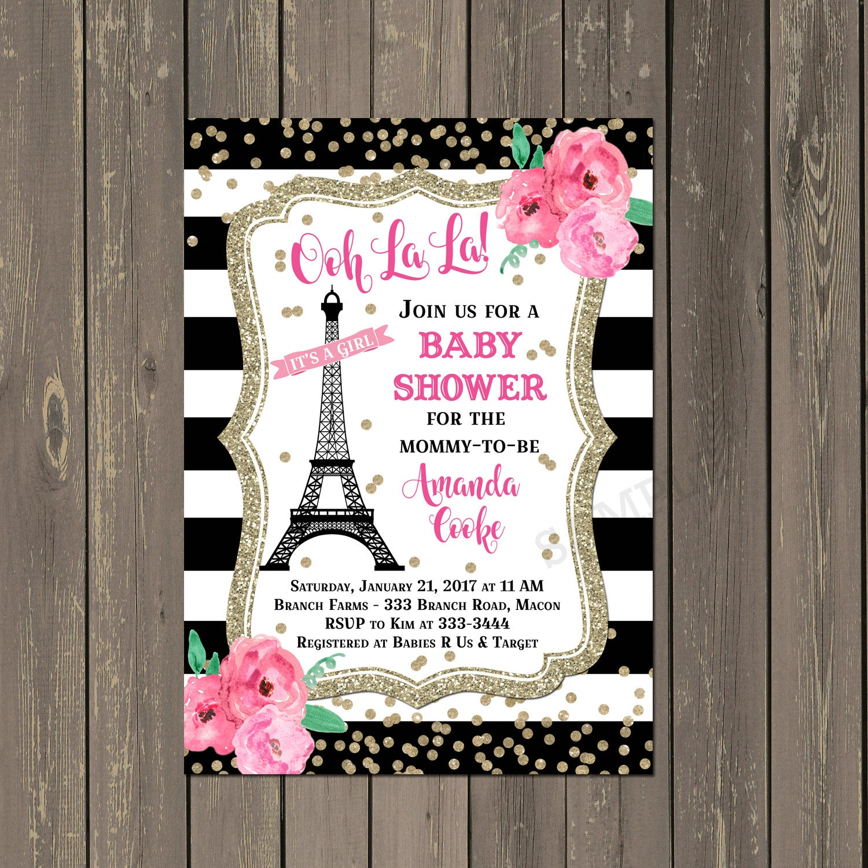 paris baby shower invitation french eiffel tower shower