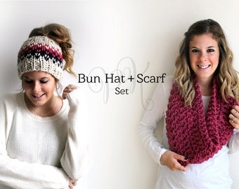 Messy Bun Hat Cowl Set Knit, Ponytail Hat Set, Matching Hat Scarf