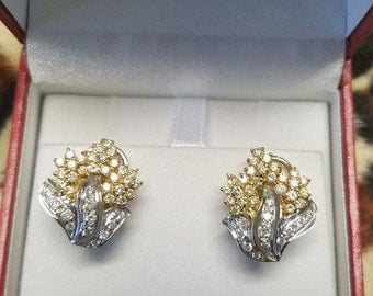 SHOPNBC 14kt Yellow and White Diamond Earrings 1.53 CT - Gorgeous & Super Unique!