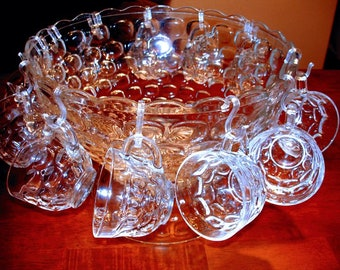 Beautiful Clear Glass Punch Bowl with Pedestal and 12 Punch Glasses