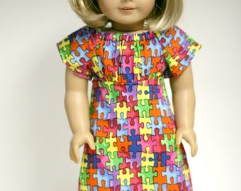 Autism Awareness Doll Dress, Puzzle Piece Dress, American Doll Clothes, 18 inch doll