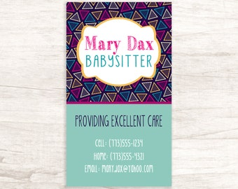 Fun Babysitting Business Card Design - One Sided