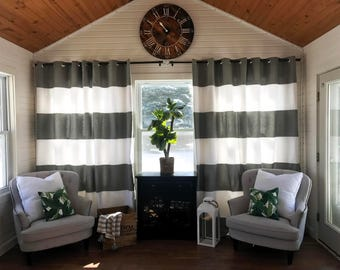Spring Sale Custom Gray and White Striped Curtains, Stripes, Color Blocked, Nursery Curtains, Striped, farmhouse decor, Farmhouse